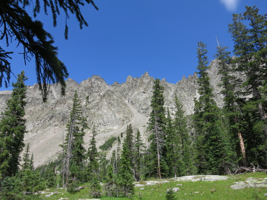 Serrated peaks and blue skies